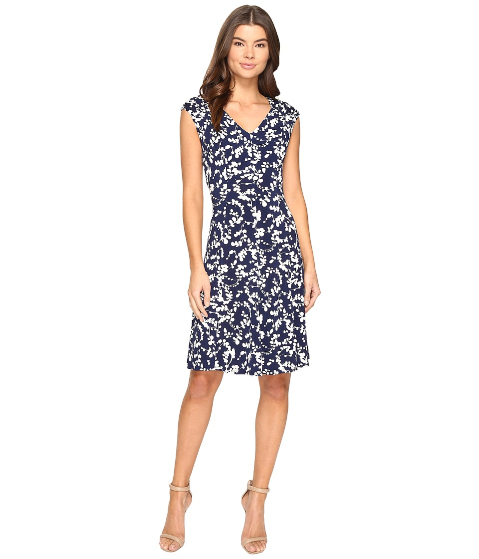 London Times Shirred Shoulder Fit and Flare Dress (Navy) Women