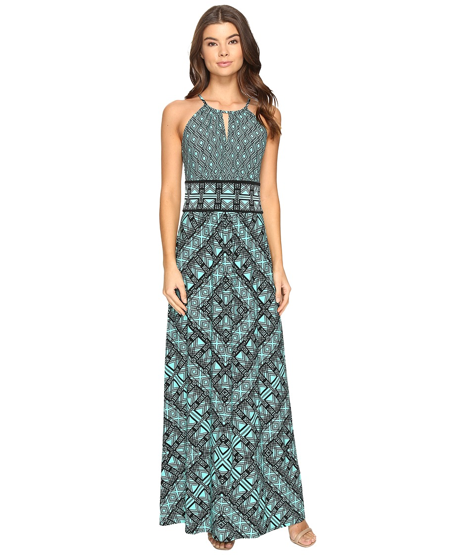 London Times - Grid Puzzle Keyhole Halter Maxi Dress (Aqua/Black) Women's Dress