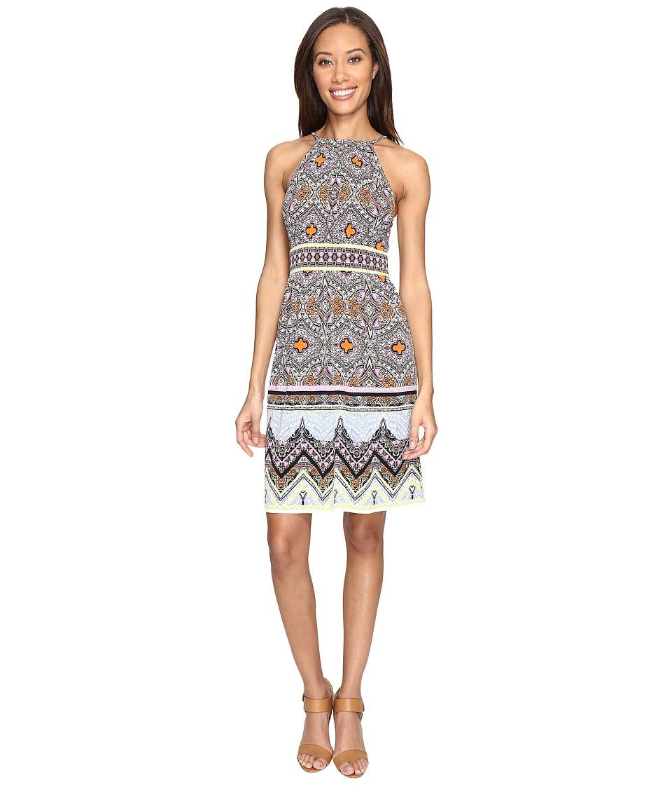 London Times - Matte Jersey Keyhole Halter Dress (Lilac Blue) Women's Dress