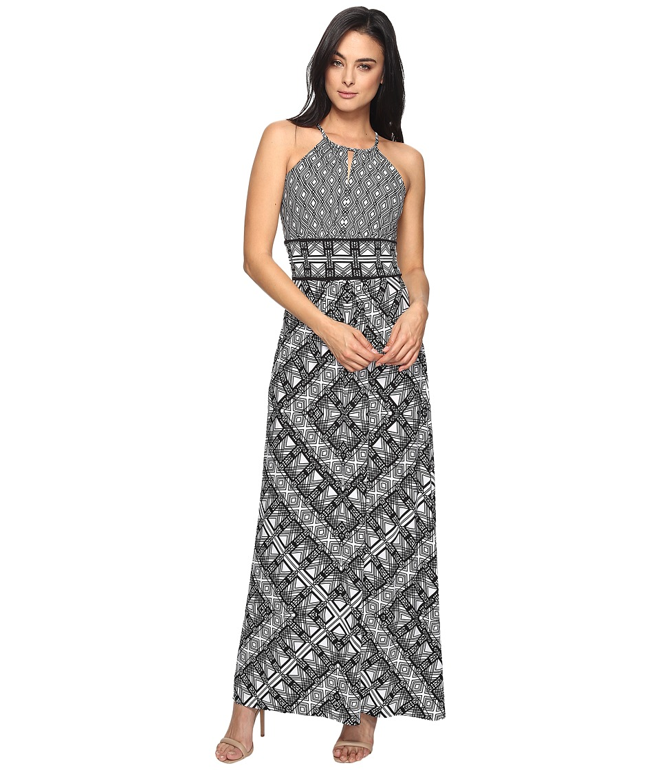 London Times - Grid Puzzle Keyhole Halter Maxi Dress (White/Black) Women's Dress