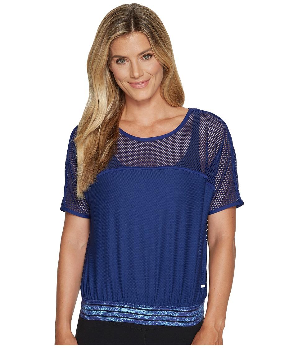 PUMA - Explosive Mesh Top (Blue Depths) Women's Short Sleeve Pullover
