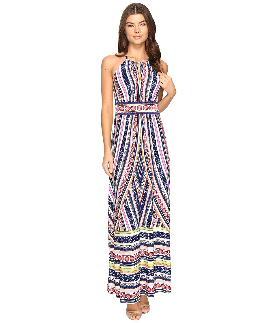 London Times Matte Jersey Halter Maxi Dress (Navy/Violet) Women