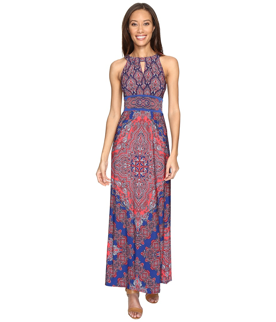 London Times Banded Halter Maxi Dress (Blue) Women