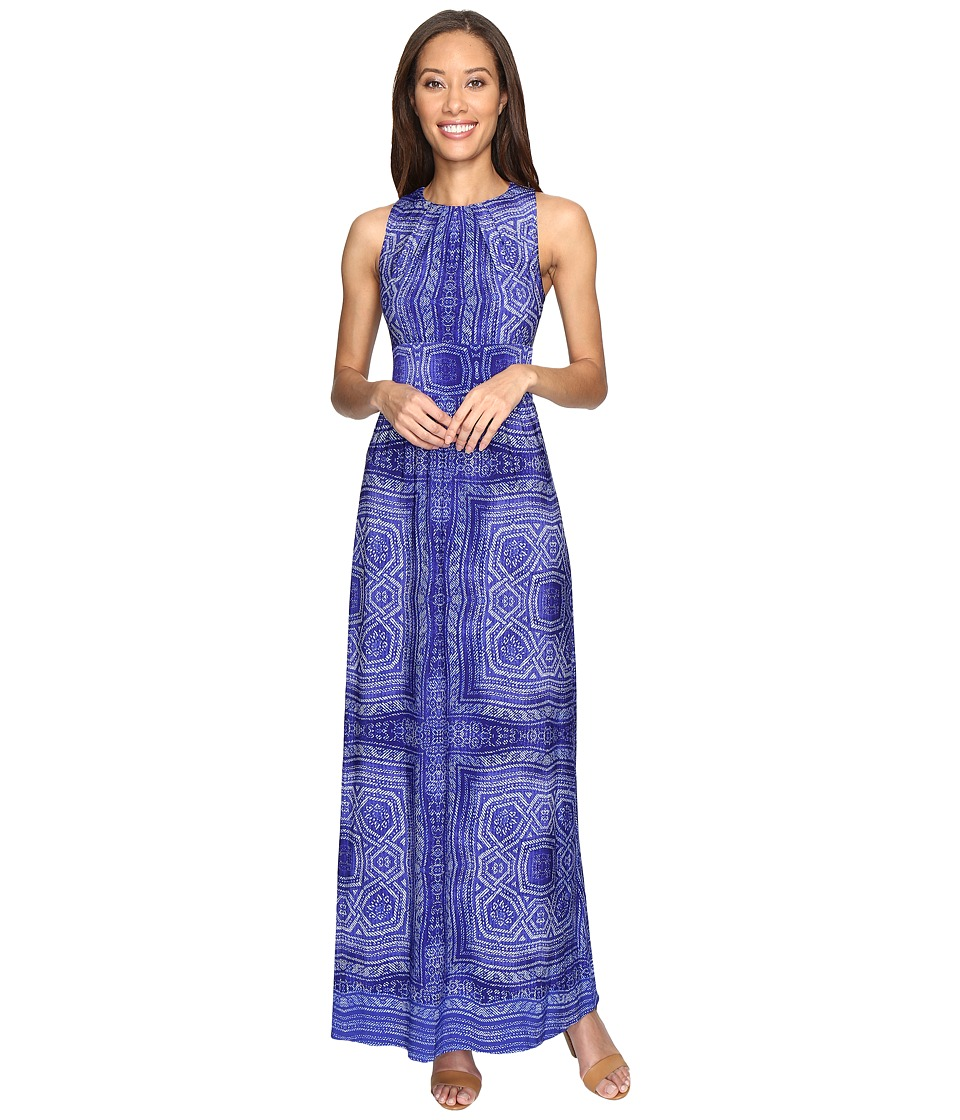 London Times - Pleated Neck Border Maxi Dress (Blue) Women's Dress