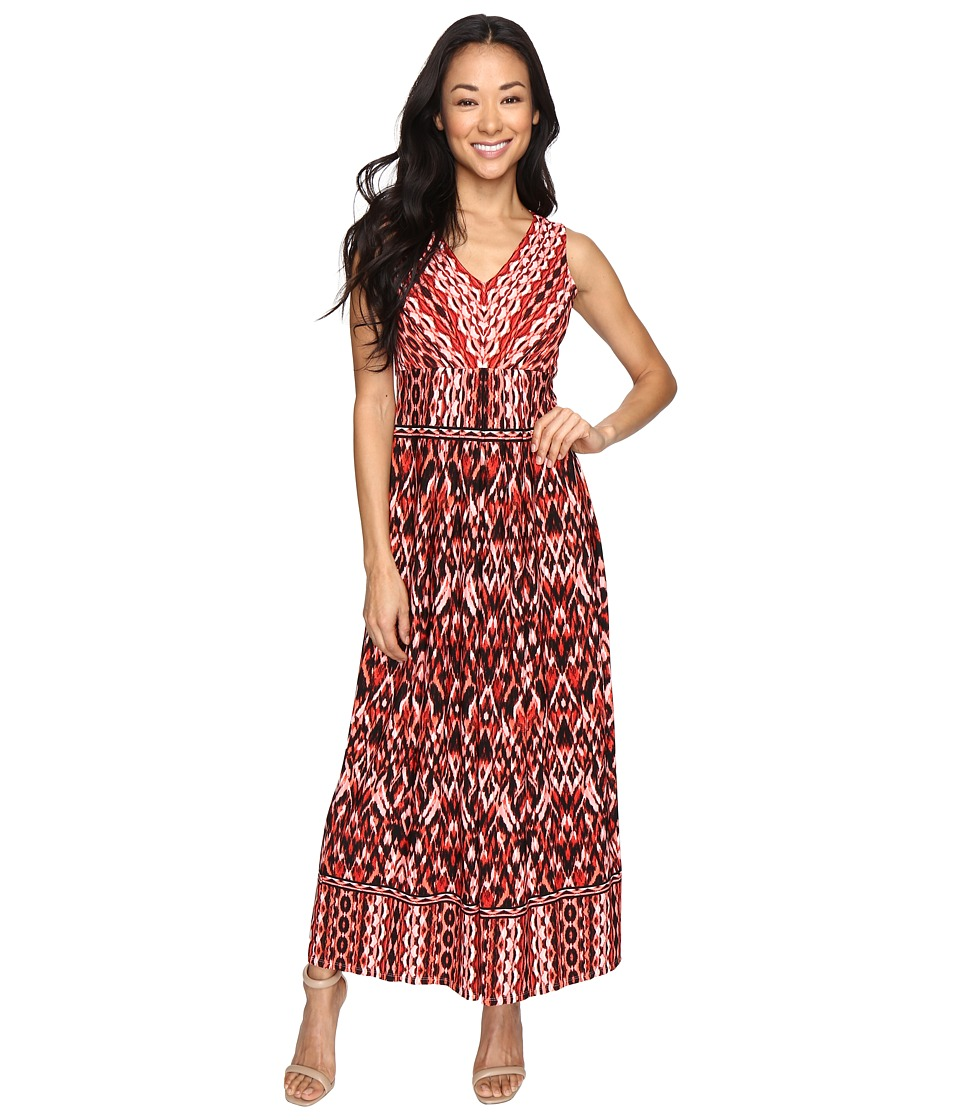 London Times - Petite Ikat Chain V-Neck Maxi Dress (Soft White/Red) Women's Dress