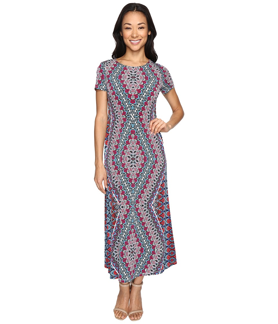 London Times - Petite Ethnic Medallion Short Sleeve Maxi Dress (Multi) Women's Dress