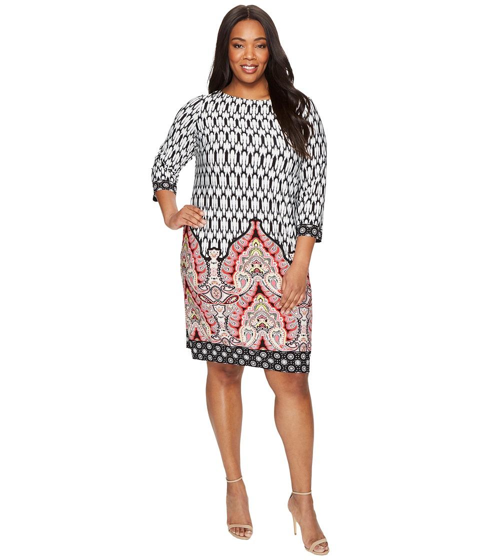 London Times - Plus Size Matte Jersey Shift Dress (Black Multi) Women's Dress