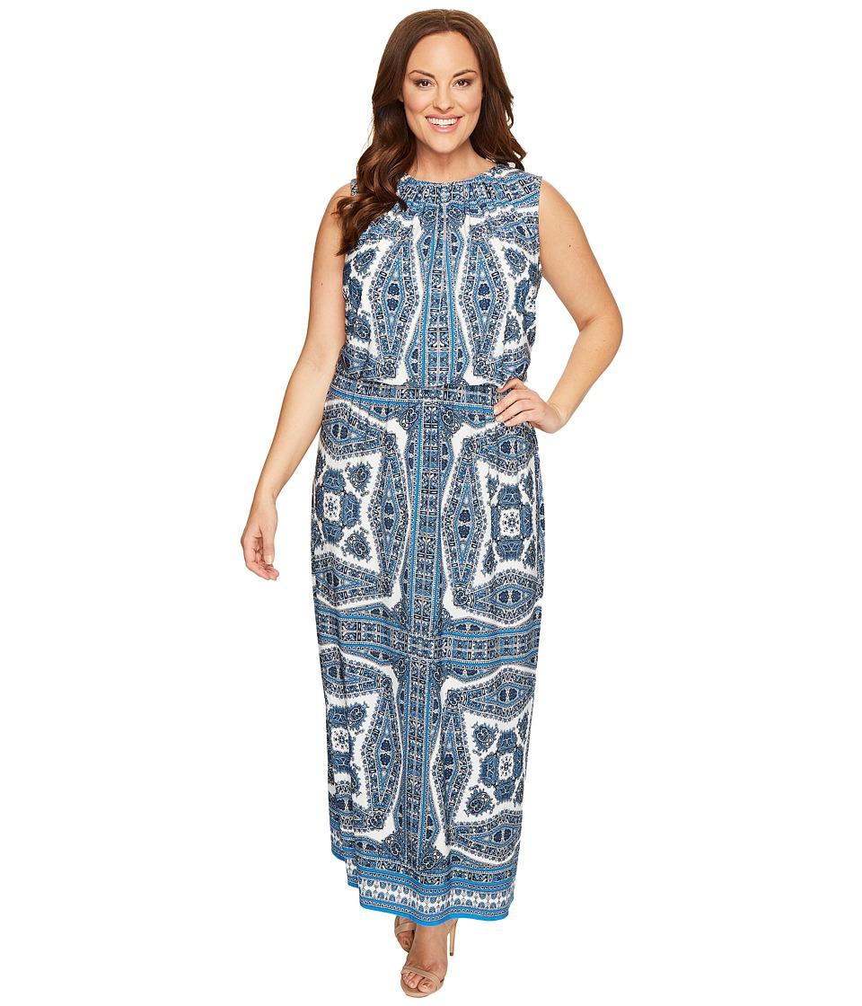 London Times - Plus Size Paisley Medallion Blouson Maxi Dress (Blue) Women's Dress