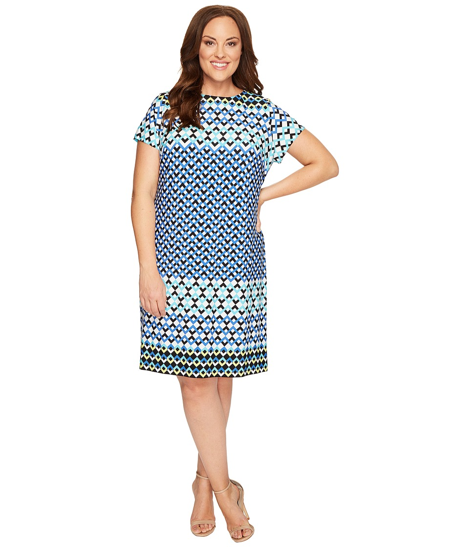 London Times - Plus Size Chevron Geo Short Sleeve Shift Dress (Blue) Women's Dress