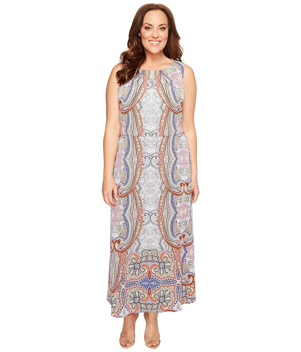 London Times - Plus Size Sleeveless Pleat Neck Blouson Maxi Dress (Soft White/Orange) Women's Dress