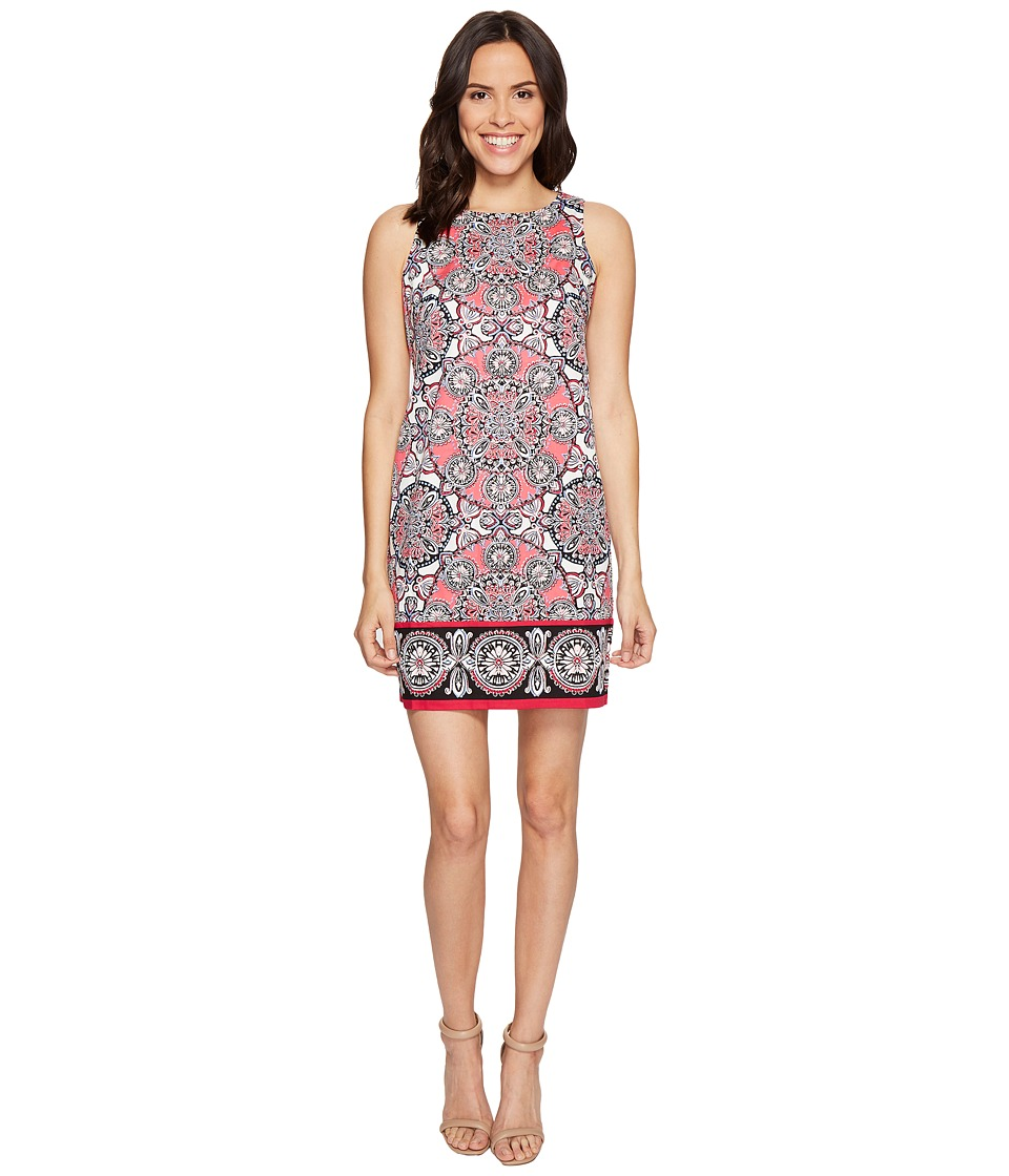 London Times Medallion Medley Sleeveless Sheath Dress (Pink Multi) Women