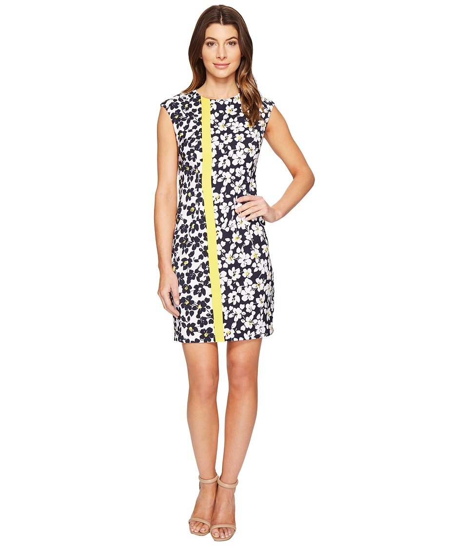 London Times - Stem Petals Cap Sleeve Sheath Dress (Yellow) Women's Dress