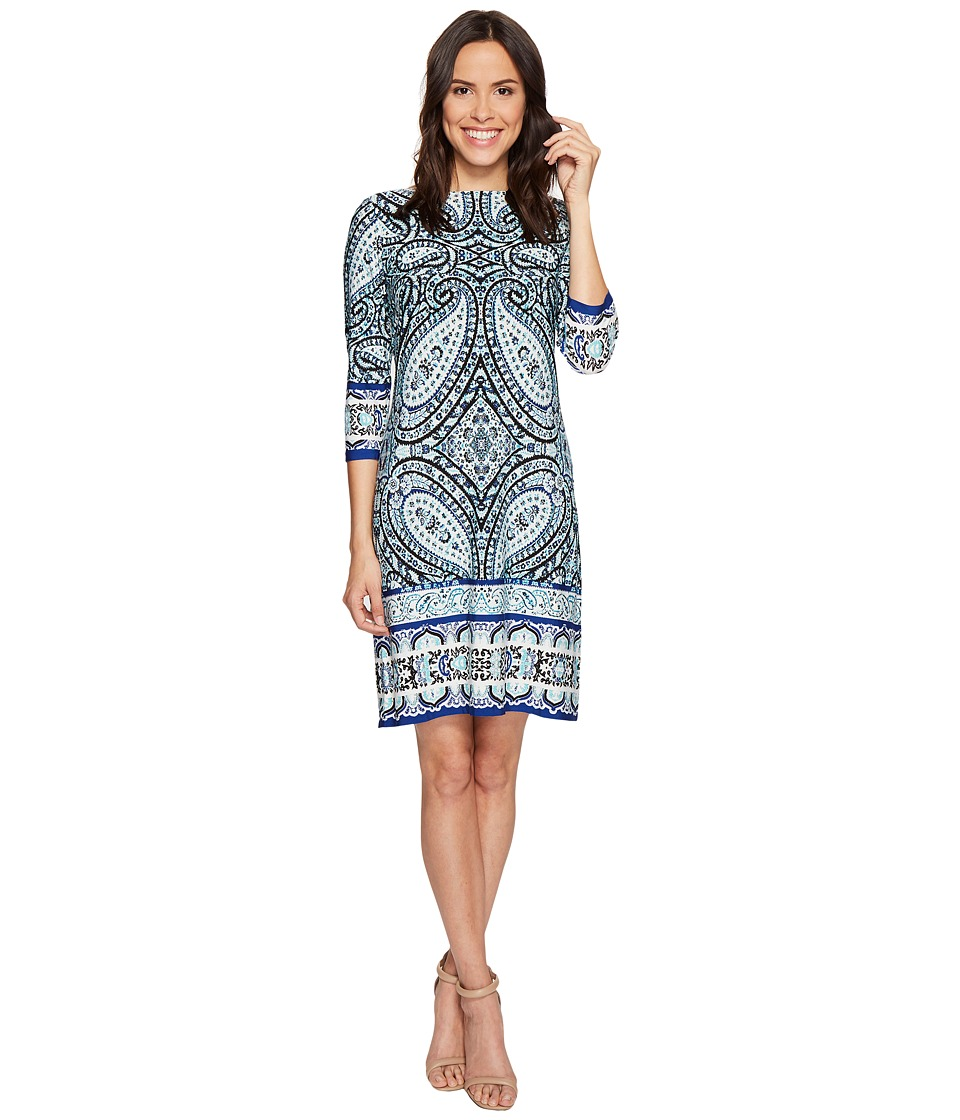 London Times - I Heart Paisley 3/4 Sleeve Shift Dress (Aqua) Women's Dress