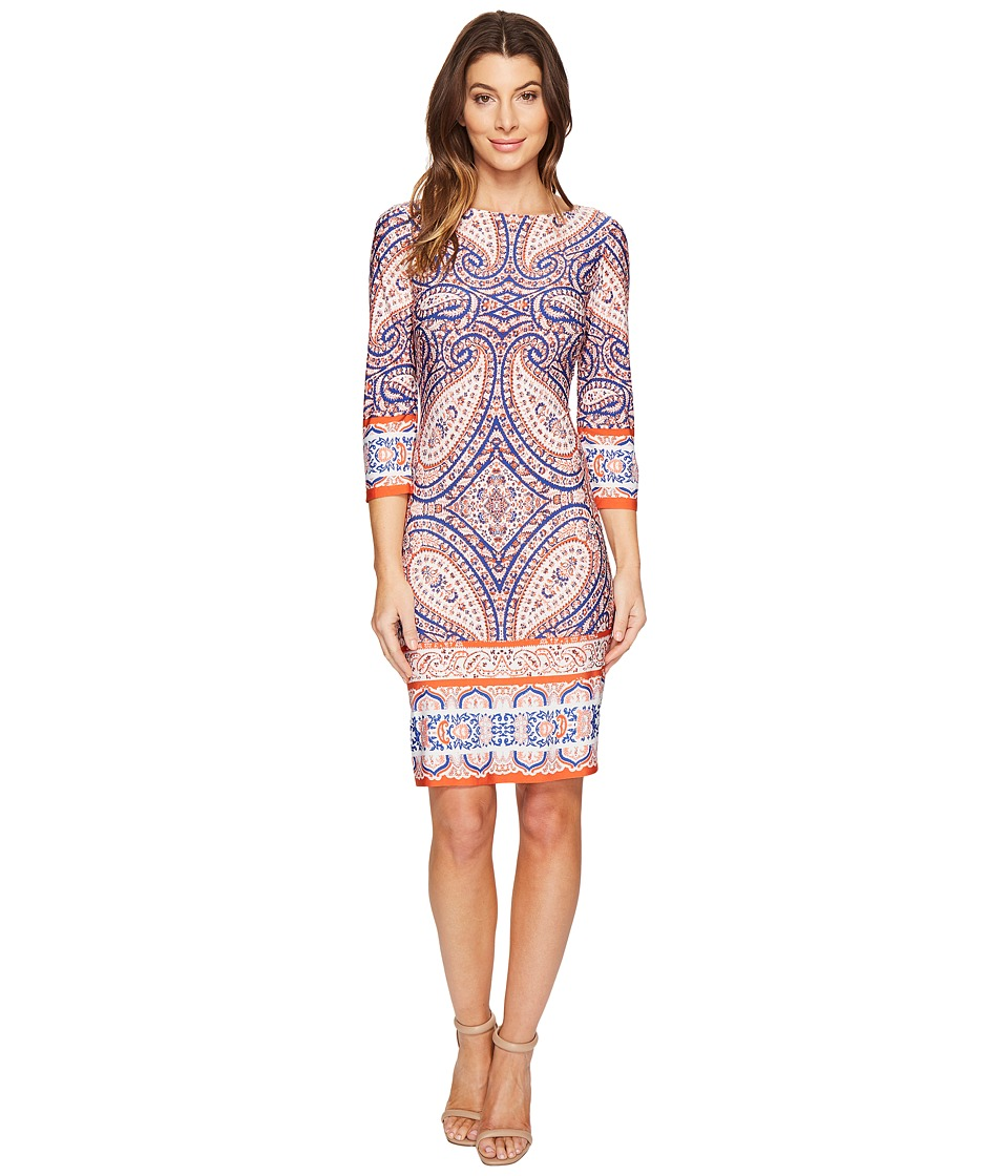 London Times - I Heart Paisley 3/4 Sleeve Shift Dress (Coral) Women's Dress