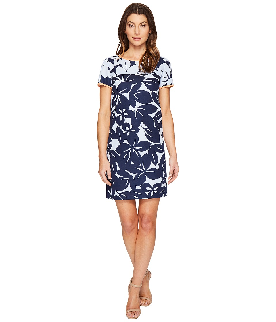 London Times Bedrock Blossom Short Sleeve Shif Dress (Blue/Navy) Women