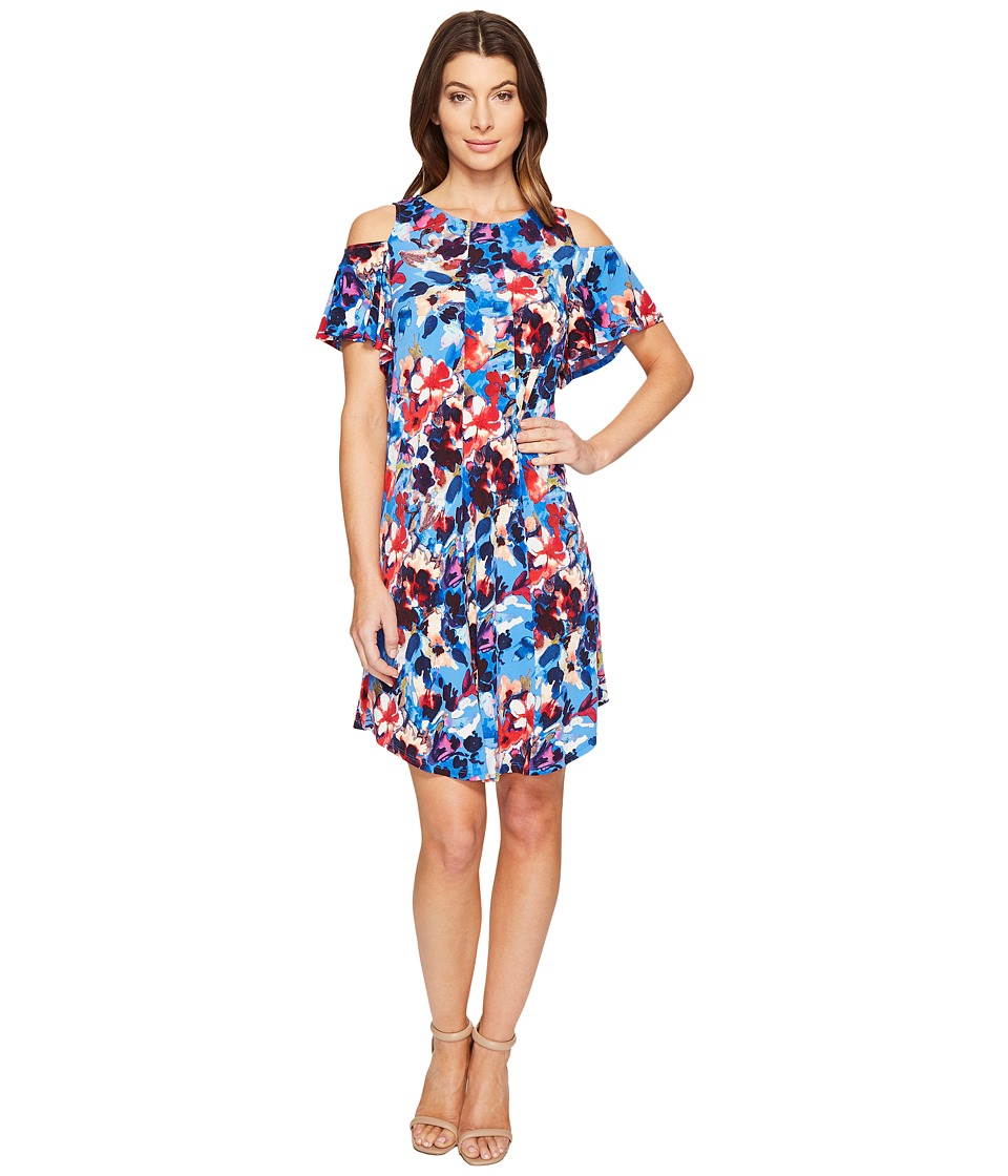 London Times Shadow Bouquet Cold Shoulder Trap Dress (Blue) Women
