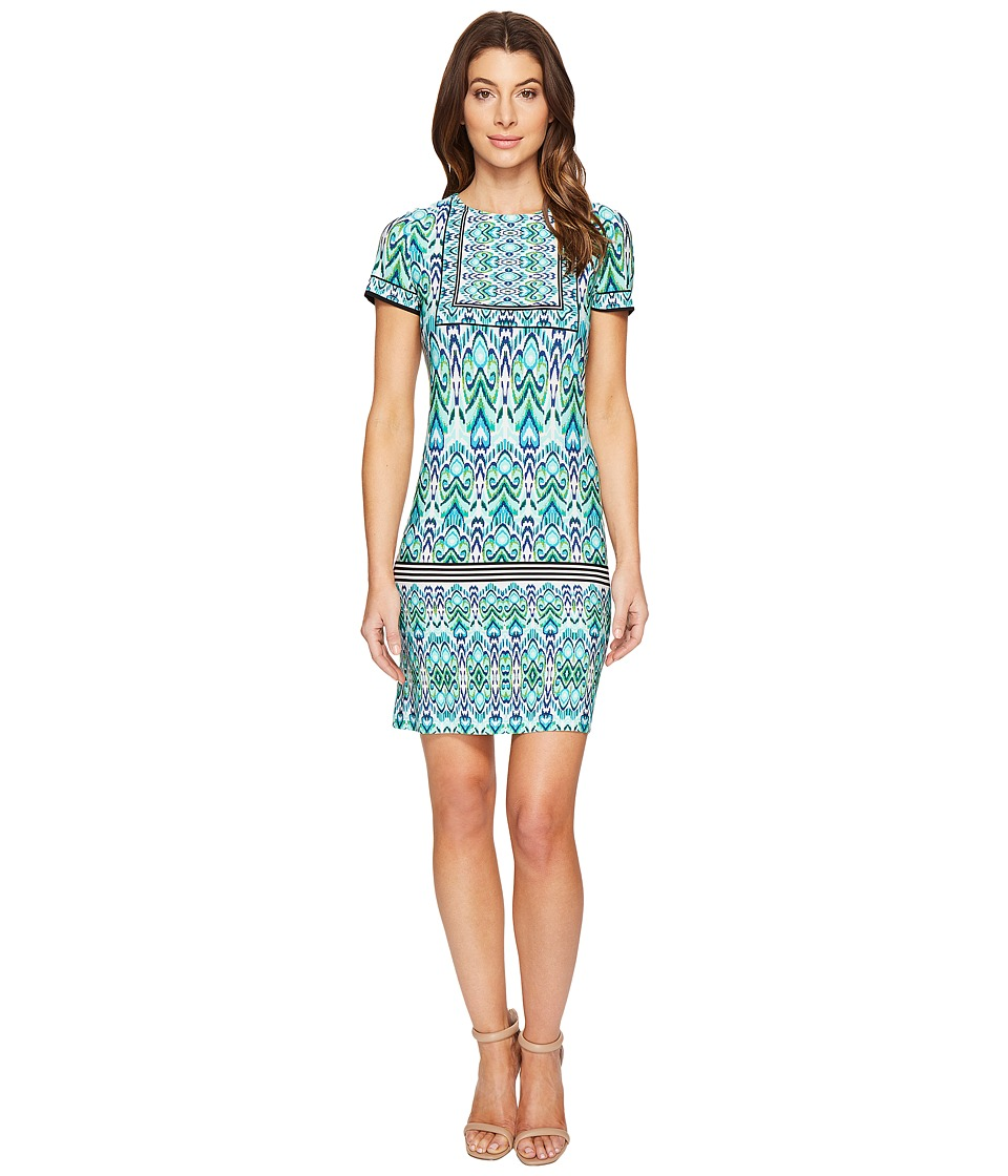 London Times Ikat Shield Short Sleeve Shift Dress (Aqua) Women