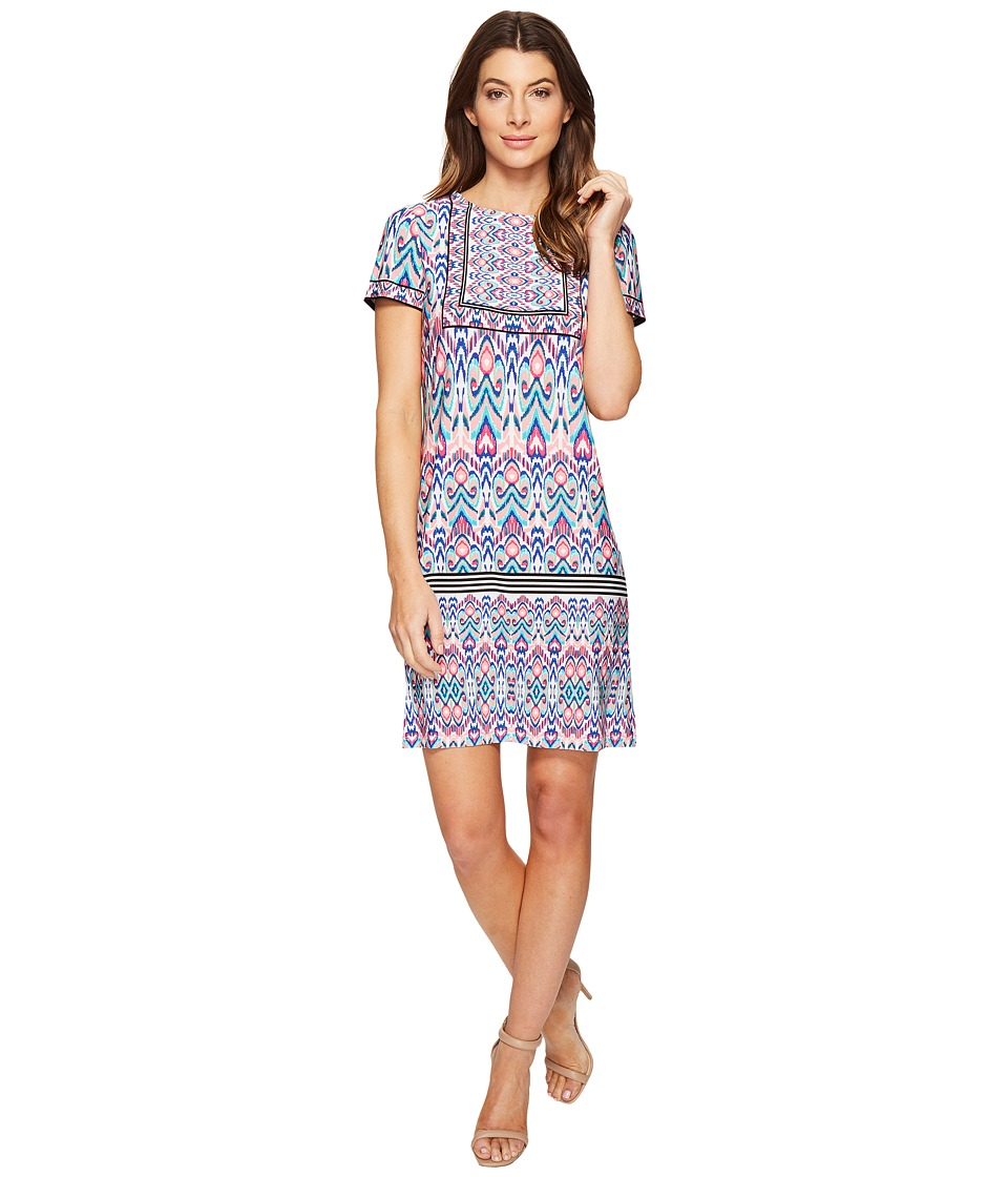 London Times Ikat Sheild Short Sleeve Shift Dress (Pink) Women