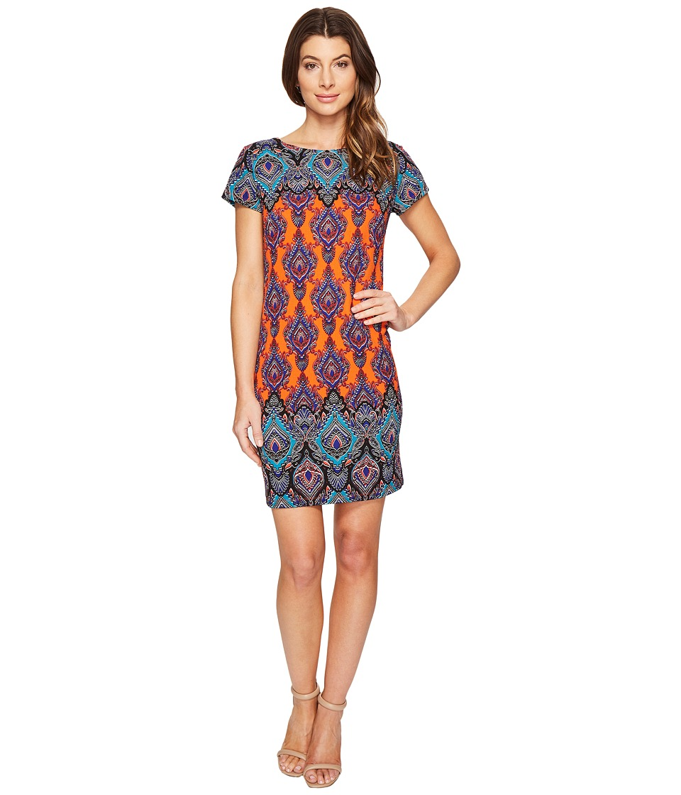 London Times - Paisley Torch Short Sleeve Shift Dress (Multi) Women's Dress
