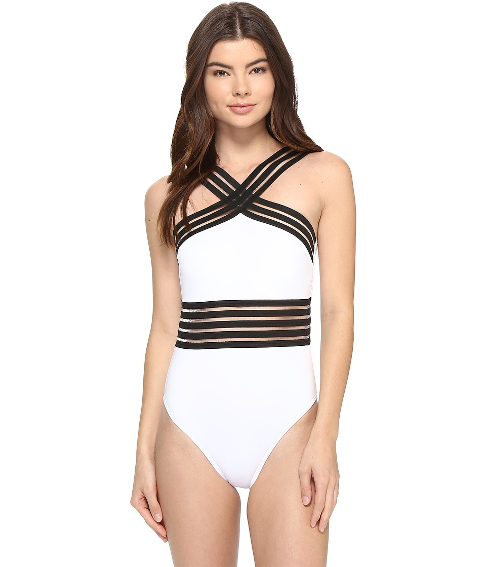 Kenneth Cole - Stompin' In My Stilettos High-Neck One-Piece (White) Women's Swimsuits One Piece