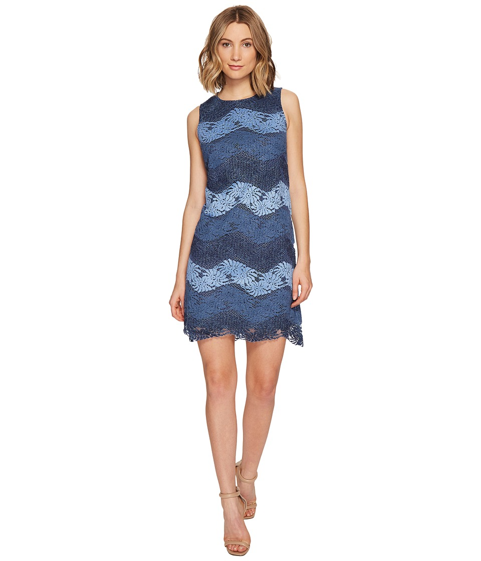 London Times Chambray Stripe Lace Sleeveless Shift Dress (Blue/Navy) Women