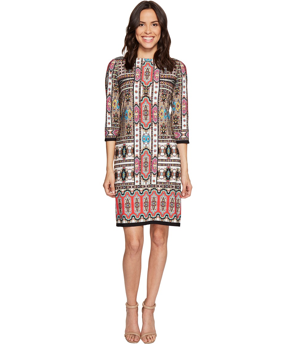 London Times - Puzzle Paisley 3/4 Sleeve Shift Dress (Taupe/Coral) Women's Dress