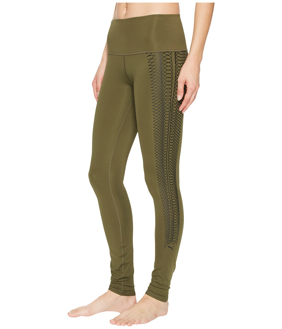 PUMA Everyday Train Graphic Tights (Olive Night/Lacing Print) Women