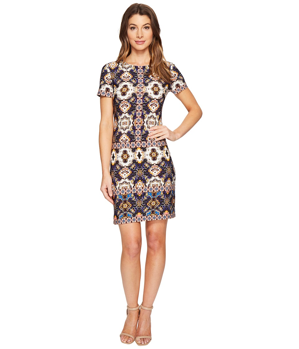 London Times - Flower Tile Short Sleeve Shift Dress (Melon Multi) Women's Dress