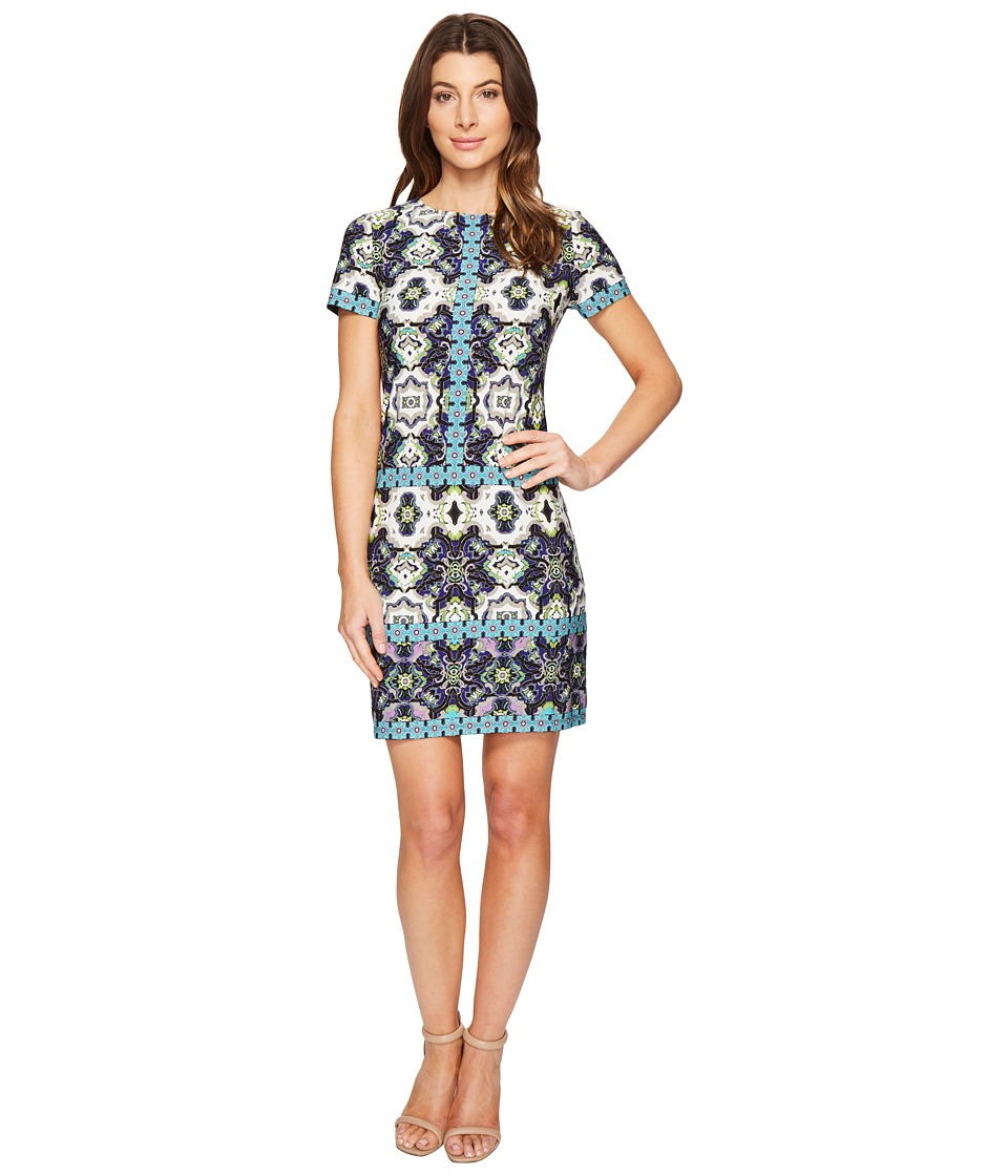 London Times Flower Tile Short Sleeve Shift Dress (Aqua Multi) Women