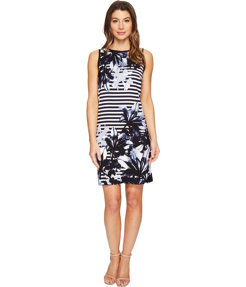 London Times Lilly Stripe Sleeveless Shift Dress (Blue) Women