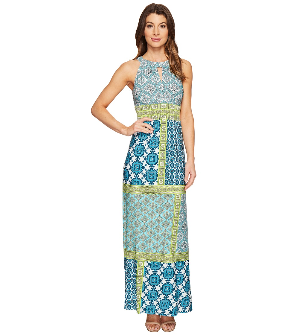 London Times Banded Halter Maxi Dress (Aqua/Lime) Women