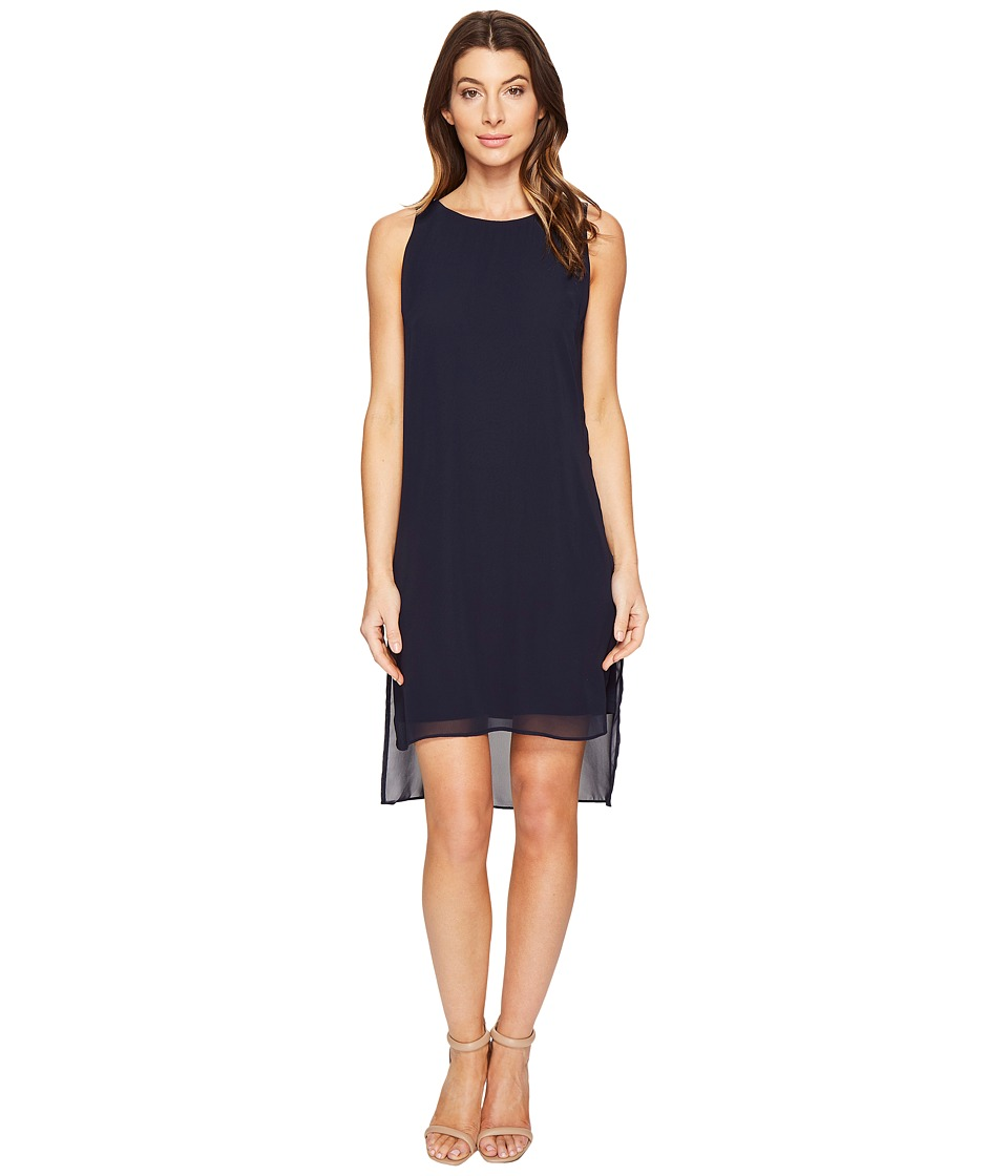 London Times Chiffon/Jersey Sleeveless Shift Dress (Navy) Women