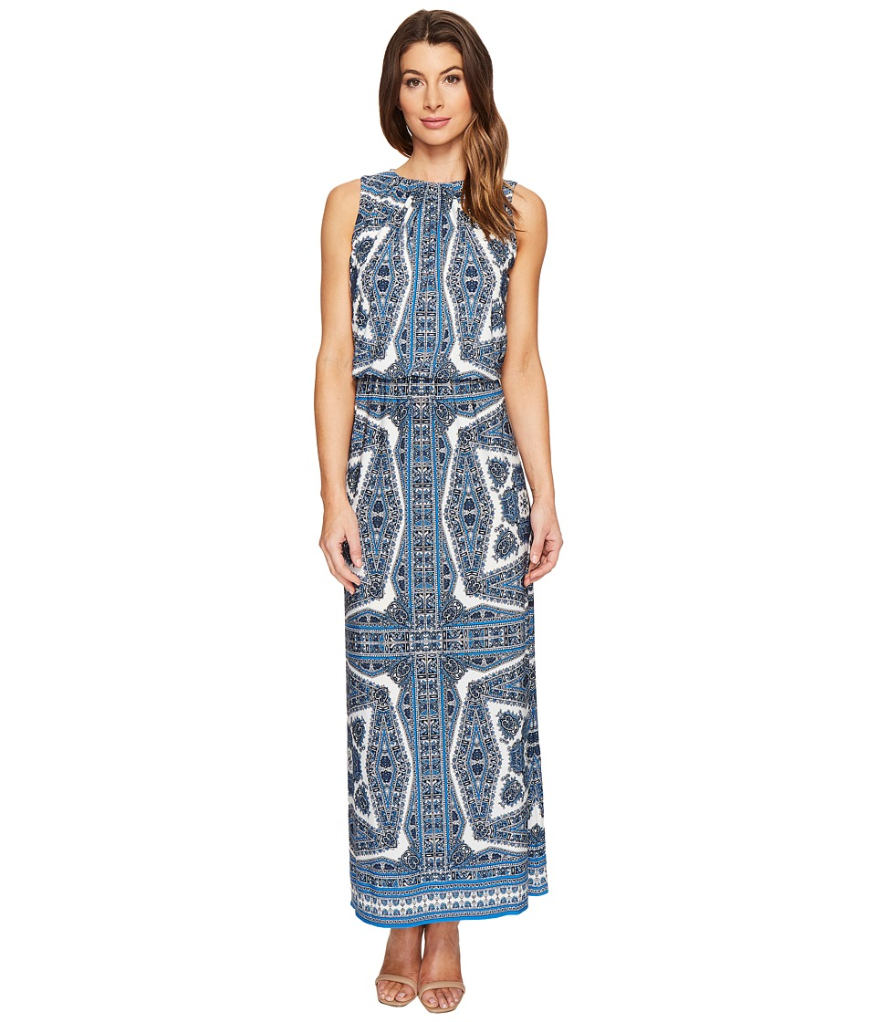 London Times - Paisley Medallion Blouson Maxi Dress (Blue) Women's Dress