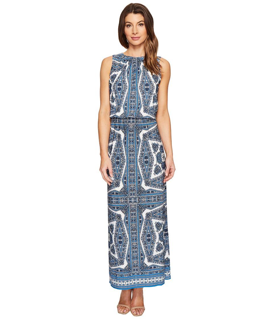 London Times - Paisley Medallion Blouson Maxi Dress (Blue) Women's Dress