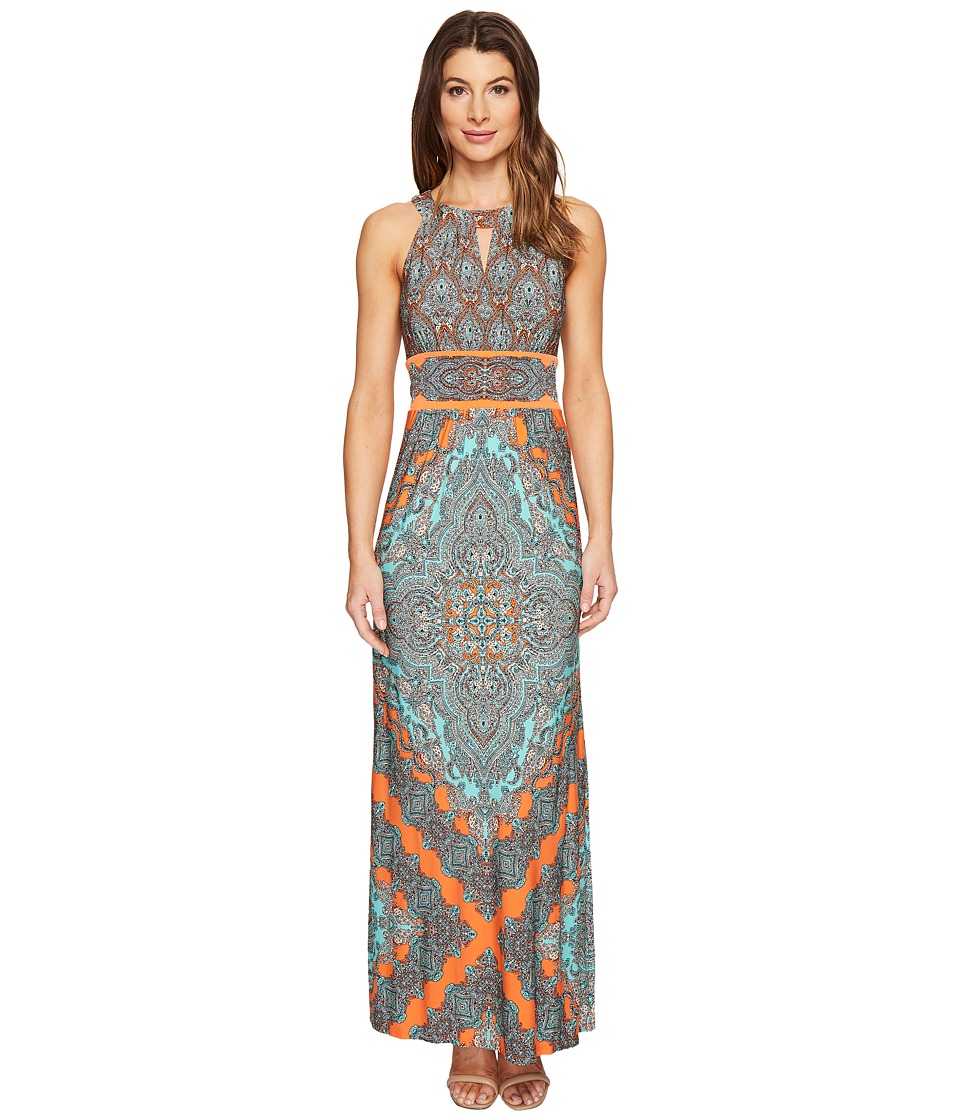 London Times - Banded Halter Maxi Dress (Orange) Women's Dress