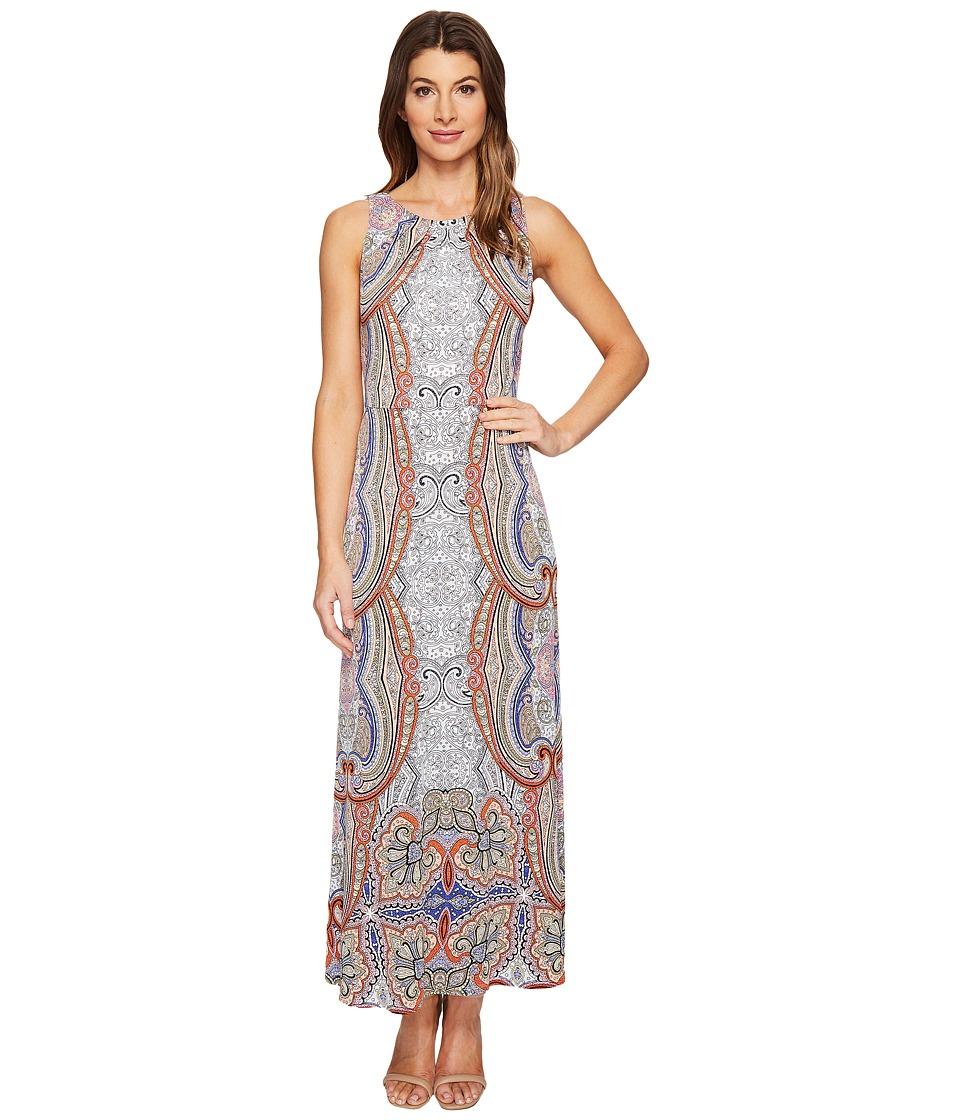London Times Sleeveless Pleat Neck Blouson Maxi Dress (Soft White/Orange) Women