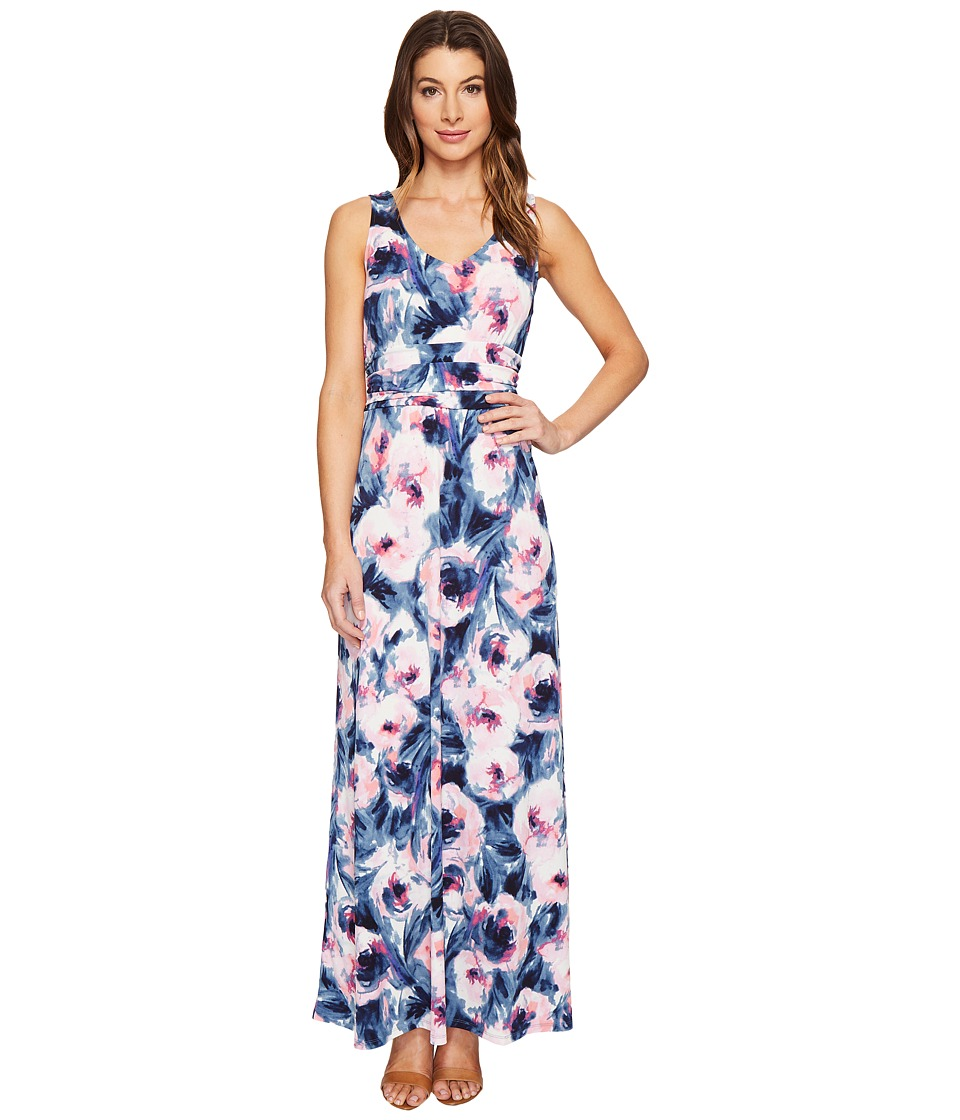 London Times - Double V-Neck Ruched Waist Maxi Dress (Pink/Blue) Women's Dress