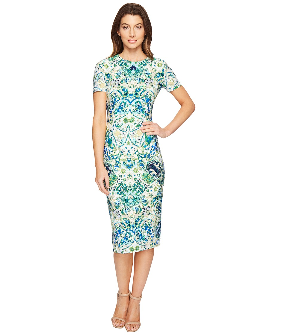 London Times Short Sleeve Midi Sheath Dress (Soft White/Aqua) Women