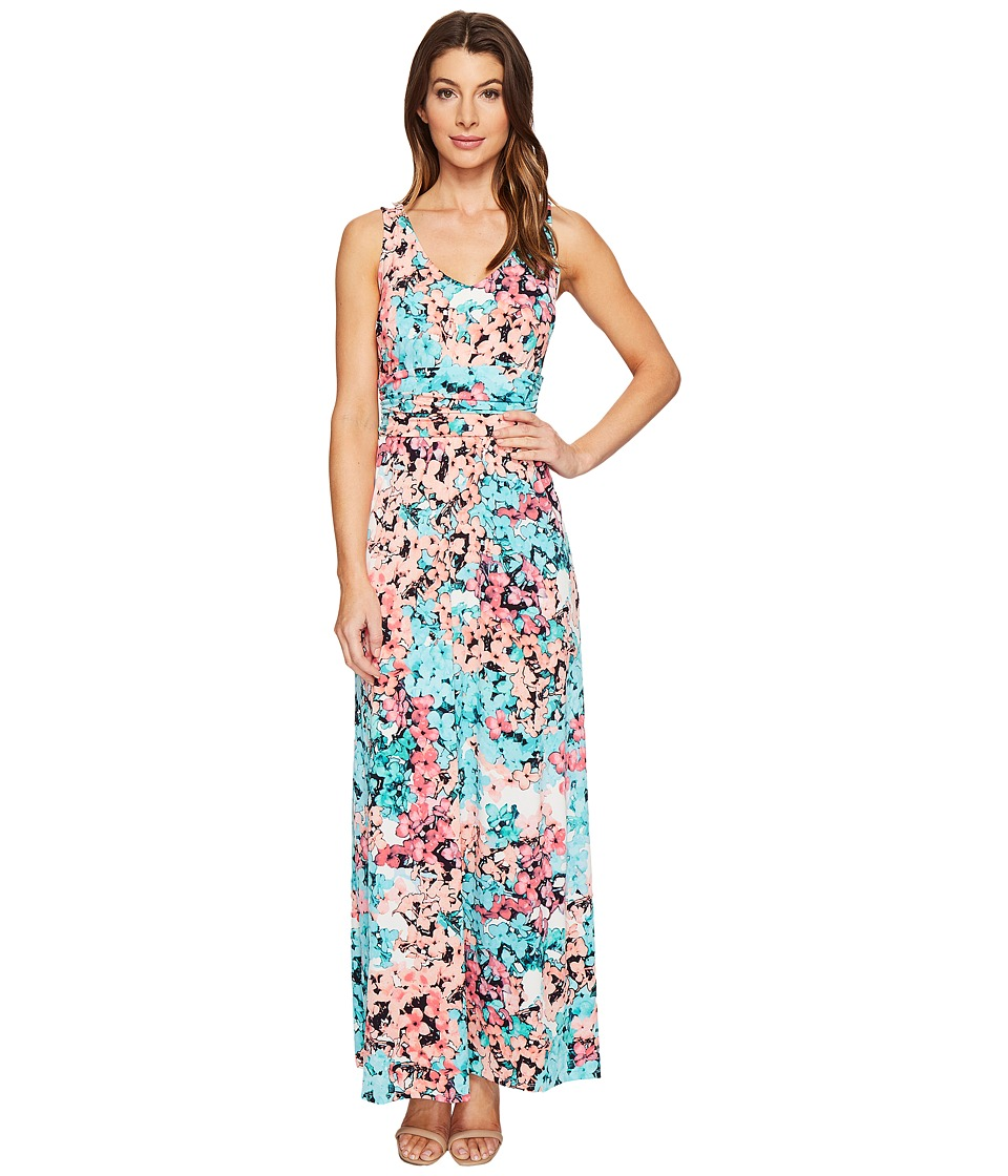 London Times Double V-Neck Ruched Waist Maxi Dress (Aqua Multi) Women