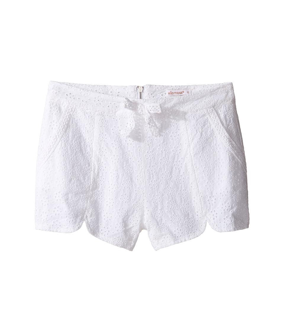 Ella Moss Girl - Tiana All Over Eyelet Shorts (Big Kids) (White) Girl's Shorts