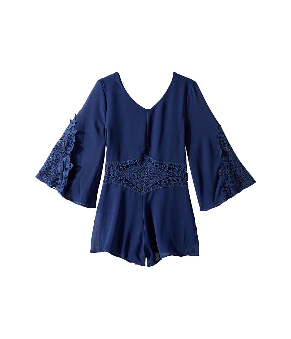 Ella Moss Girl - Cathy Chiffon with Crochet Romper (Big Kids) (Navy) Girl's Jumpsuit & Rompers One Piece