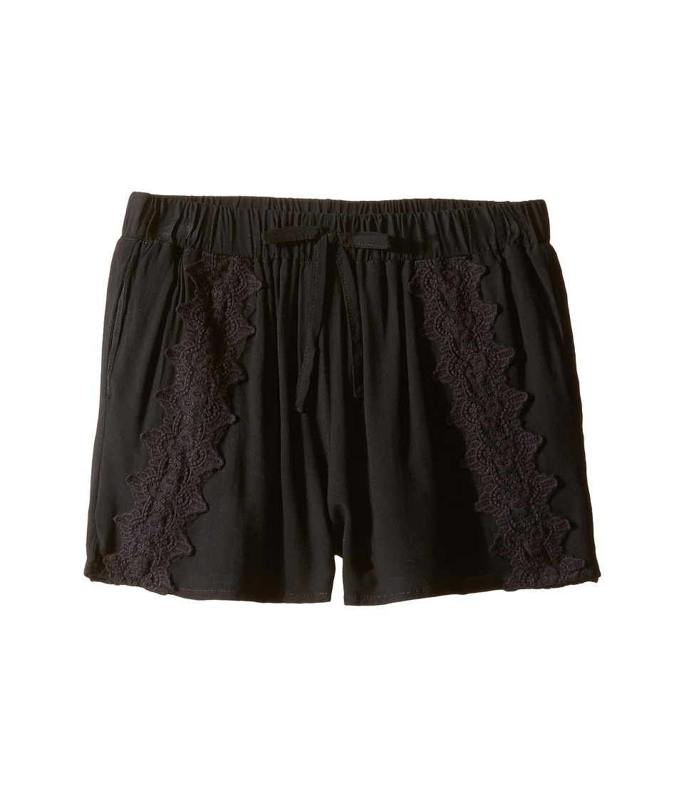 Ella Moss Girl - Selma All Over Crochet Shorts (Big Kids) (Black) Girl's Shorts