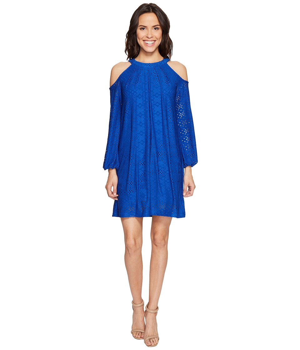London Times Cold Shoulder Shift Dress (Blue) Women