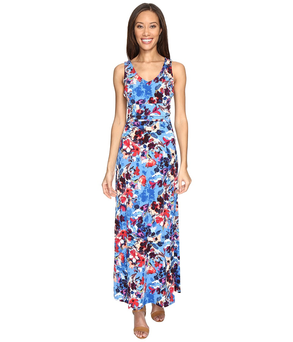 London Times Double V-Neck Ruched Waist Maxi Dress (Blue) Women