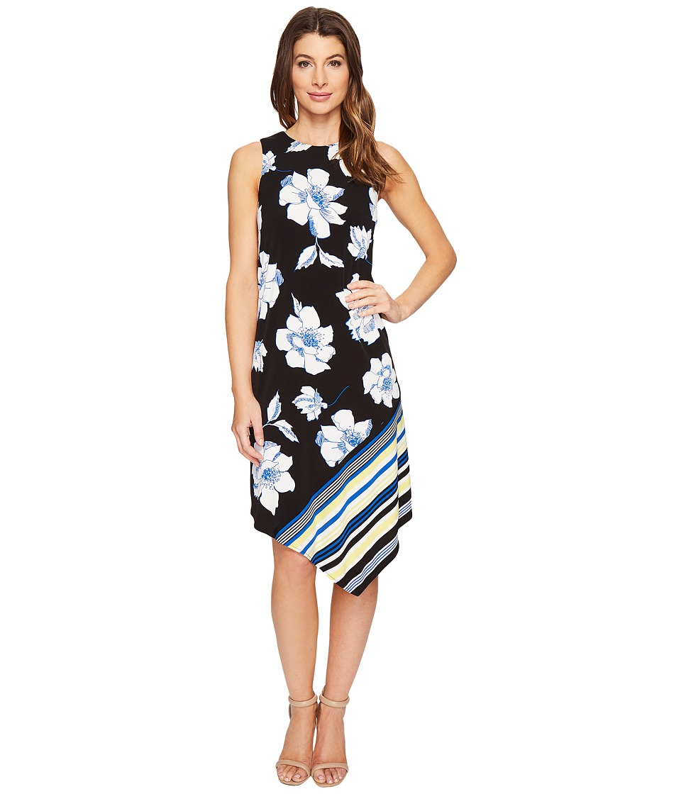 London Times Flower Stripe Handkerchief Dress (Black/Blue) Women