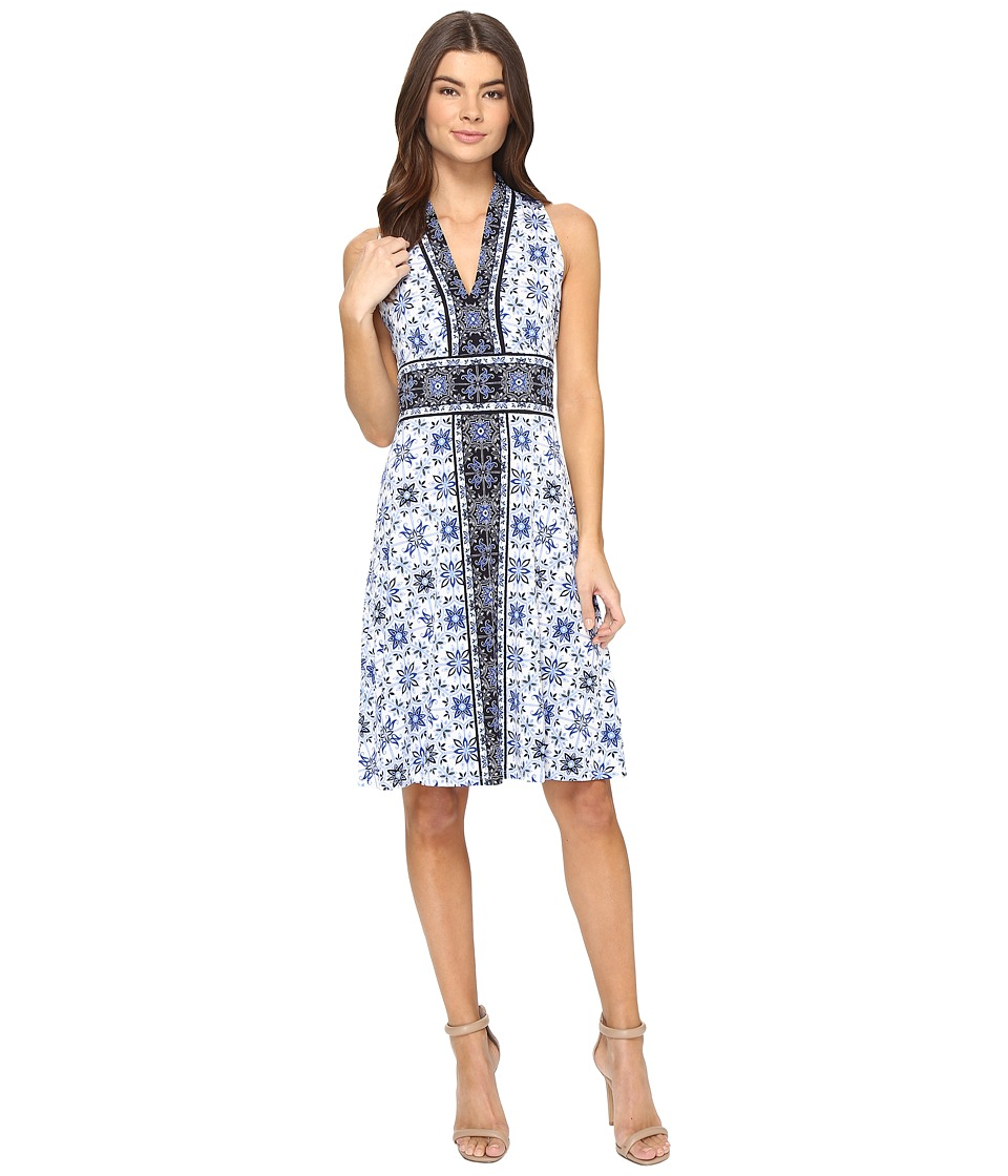 London Times - Delft Tile Border Fit Flare Dress (White/Blue) Women's Dress