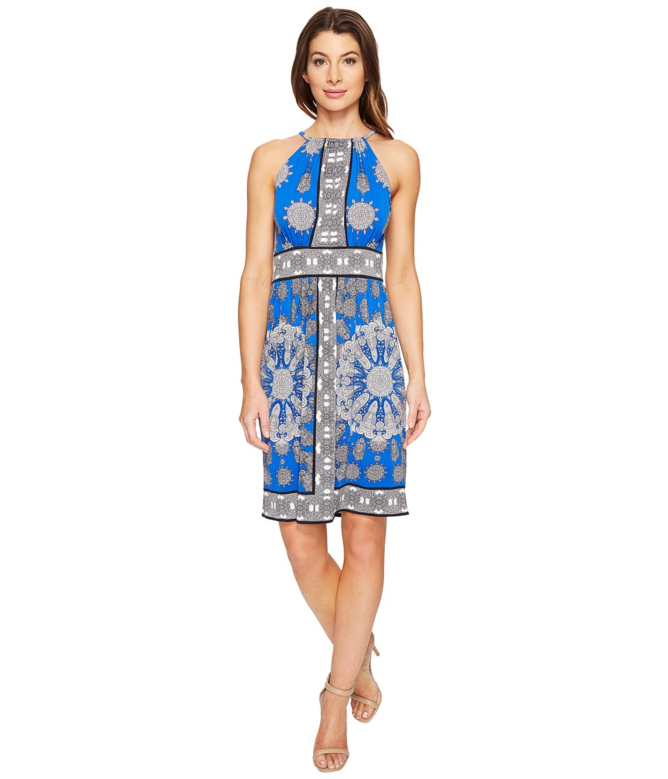 London Times Paisley Dial Halter Fit Flare Dress (Blue) Women