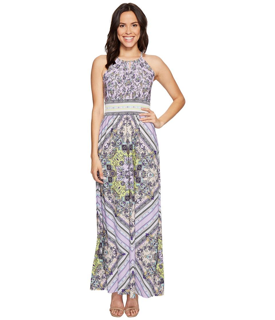 London Times Sleeveless Keyhole Halter Maxi Dress (Lavander) Women