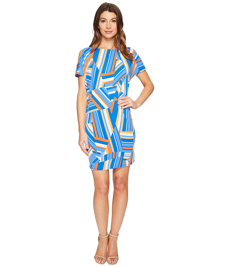 London Times - Patchwork Stripe Cold Shoulder Shift Dress (Blue) Women's Dress