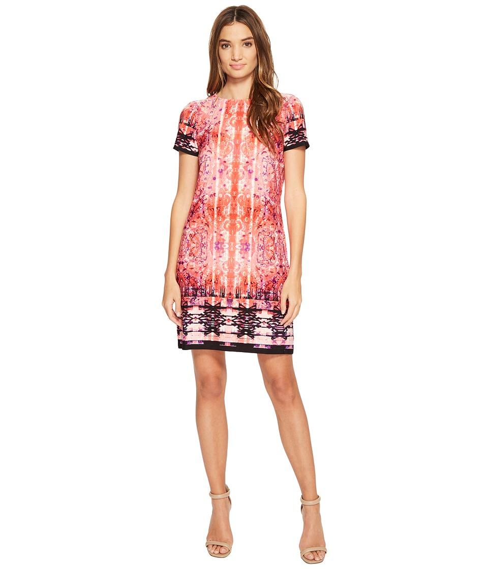London Times - Carper Medallion Short Sleeve Shift Dress (Coral) Women's Dress